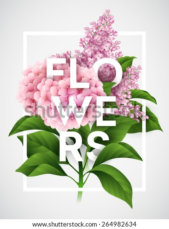 Stylish vector poster with beautiful flowers EPS 10 - stock vector