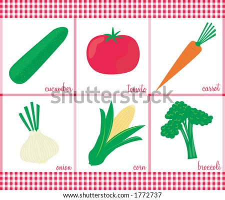 Stylish vector veggies. See my gallery for coordinating fruits. - stock vector