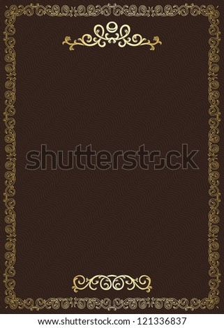 Stylish vintage background with golden ornament