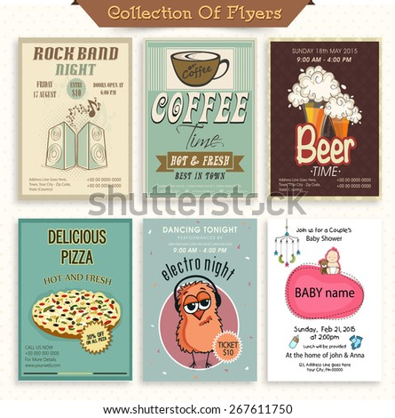 Stylish vintage flyer collection for Music, Beer Bar, Cafe, Restaurant and Baby Shower. - stock vector