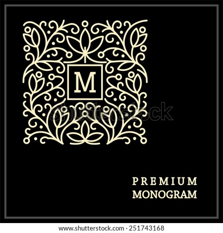 Stylish  vintage graceful monogram,  emblem template , Elegant line art logo design in Art Nouveau style - stock vector