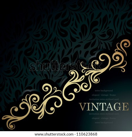 Stylish Vintage Invitation card. Luxury black design - stock vector
