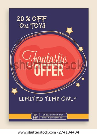 Stylish vintage Sale poster, banner or flyer design with fantastic discount offer on toys for limited time. - stock vector