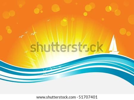stylish wave and sunrise - stock vector