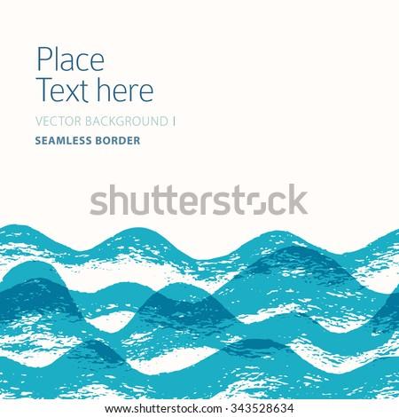 Stylish wavy background. Seamless border - stock vector