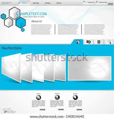 stylish website template - portfolio layout for designers and design studio - stock vector