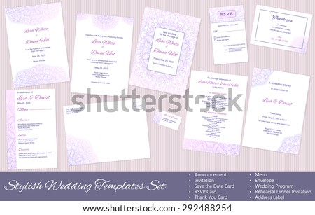 Stylish Wedding vector Templates Set: Announcement, Invitation, Save the Date Card, RSVP Card, Thank You Card, Menu, Envelope, Wedding Program, Rehearsal Dinner Invitation, Address Label. - stock vector