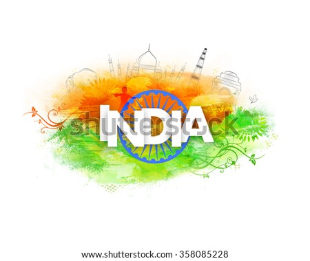Stylish white text India with Ashoka Wheel on creative background for Happy Indian Republic Day celebration. - stock vector