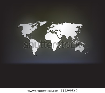 Stylish white world map on a dark background with cool glowing effects. EPS10 vector. - stock vector