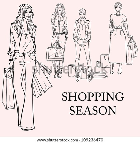 Stylish women, girls with shopping bags, hand drawn sketch, shopping season set - stock vector
