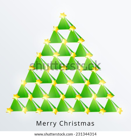 Stylish X-mas tree decorated with shiny stars for Merry Christmas celebration on blue background. - stock vector