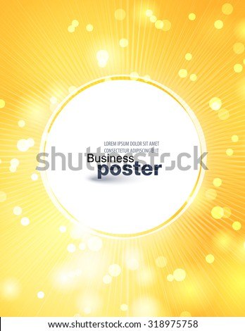 Stylish yellow-orange poster with a button in the middle. Design layout template - stock vector