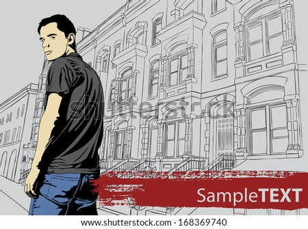 Stylish young guy with building on background - stock vector