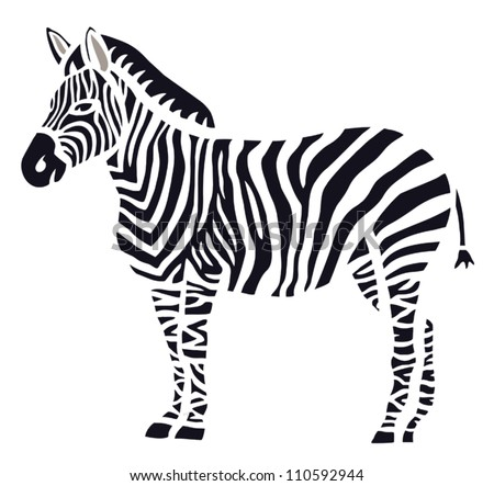 Stylish Zebra on White Background - stock vector