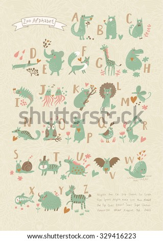 Stylish zoo alphabet in vector. Lovely animals with english letters and names. Best abc-poster in sweet colors for children preschool education