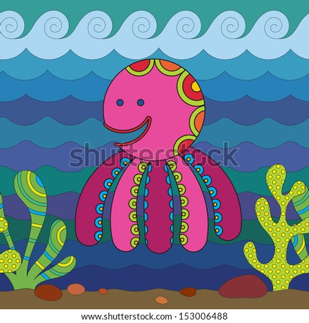 Stylize fantasy octopus under water. - stock vector
