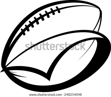 Stylized american football with a pennant swooping around it. - stock vector