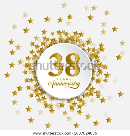 Stylized Modern Happy 38 Years Anniversary Stock Vector Royalty
