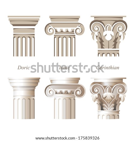 Stylized And Realistic Columns In Different Styles   Ionic, Doric,  Corinthian   For Your