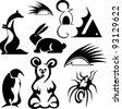 стилизованных животных. вектор силуэт Фото со стока - 12028480. стилизованных...