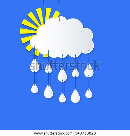 Stylized applique cutout paper cloud and hanging on strings with rain drops and shadow on blue background, vector meteo forecast weather icon for websites  - stock vector