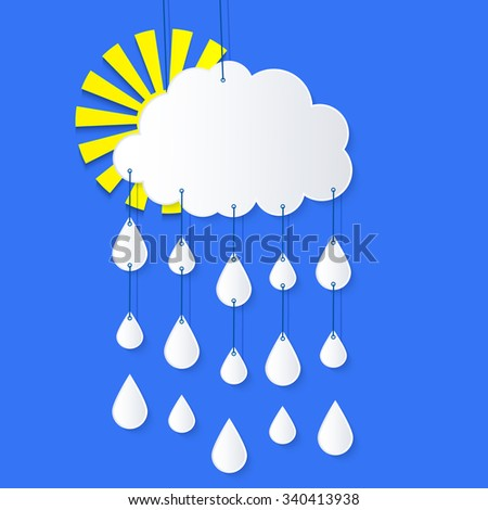 Stylized applique cutout paper cloud and sun with rain drops and shadow on blue background, vector forecast weather icon for websites  - stock vector
