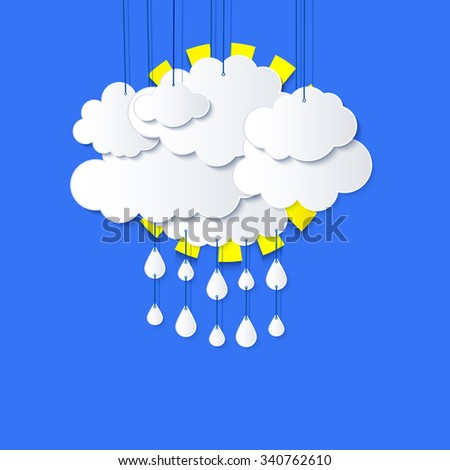 Stylized applique cutout paper clouds with shadow on blue sky background, vector  weather background for meteo websites  - stock vector