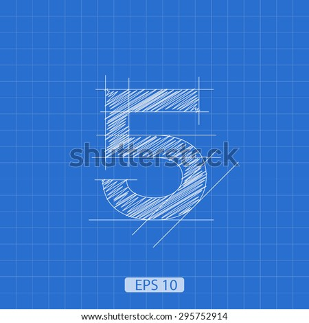 """stylized architectural plan of the figure """"five"""" on a blue background - stock vector"""
