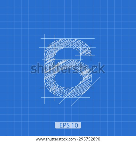 """stylized architectural plan of the figure """"six"""" on a blue background - stock vector"""
