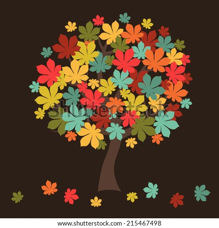 Stylized autumn tree with falling leaves for greeting card. - stock vector