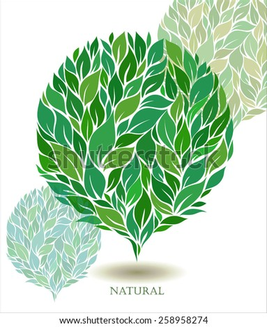 stylized ball of green leaves - element for design - stock vector