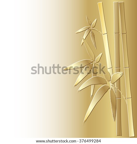 Stylized bamboo background, eps 10.Bamboo stem and leaves. Golden bamboo.  - stock vector