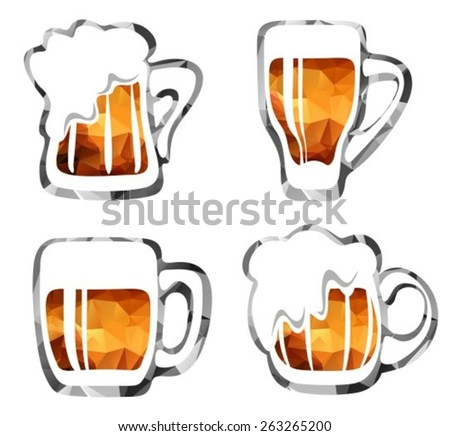 Stylized beer mugs isolated on a white background. - stock vector
