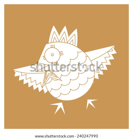 stylized bird image and contour - stock vector
