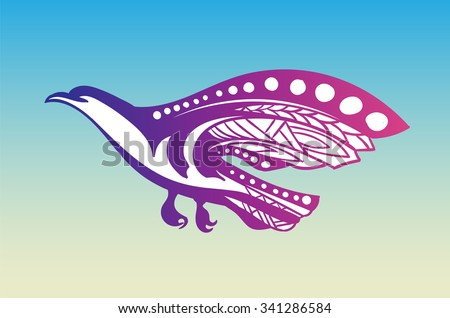 Stylized bird of prey flies - stock vector