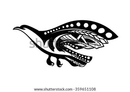 Stylized bird of prey flies - stock vector