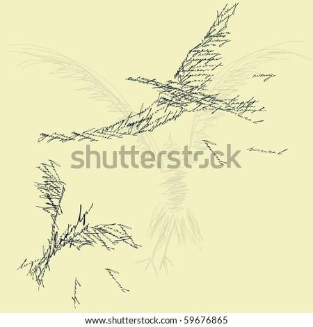 Stylized bird silhouette - stock vector