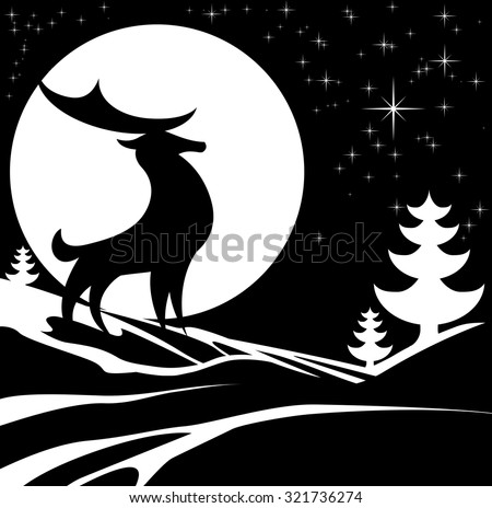 Stylized black and white design of a Christmas winter scene with a stag male deer and full moon in snow with Christmas trees - stock vector