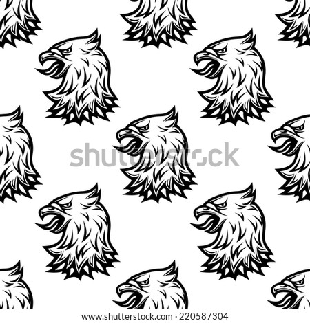 Stylized black eagle seamless pattern in tribal vintage style for heraldry design - stock vector
