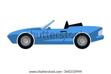 Stylized Blue Convertible Sports Car vector icon
