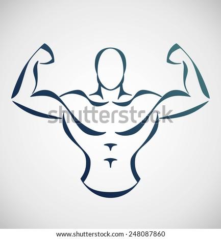 stylized bodybuilder - stock vector