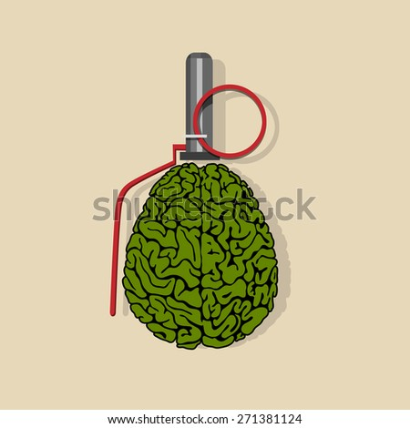 Stylized Brain hand grenade. Vector EPS10 - stock vector