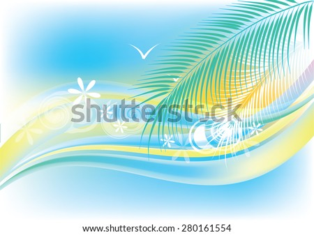 Stylized bright summer background with ocean waves, palm trees and seagulls - stock vector