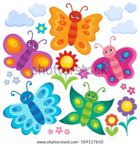 Stylized butterflies theme set 1 - eps10 vector illustration.