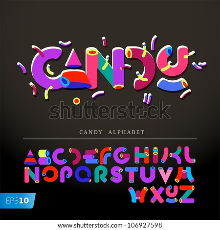 Stylized candy-like alphabets, vector Eps10 illustration. - stock vector