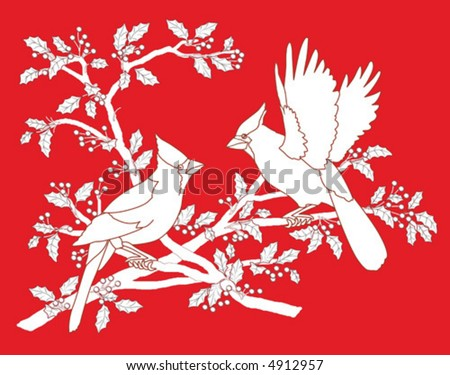 Stylized cardinals on holly branch.