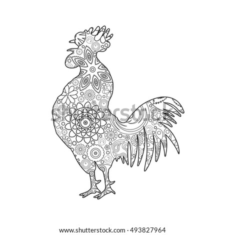 year of rooster coloring page - vector illustration rooster bird symbol handdrawing stock