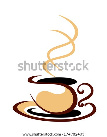 Stylized cartoon sketch illustration in shades of brown of a hot steaming cup logo of coffee on a white background