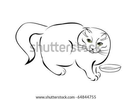 Stylized cat with colored eyes