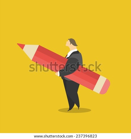 Stylized character concept man in a suit holding a big pencil under his arm